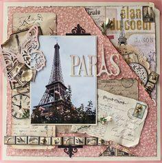 Vintage style Paris scrapbook layout of Eiffel Tower Travel Scrapbook Pages, Vacation Scrapbook, Scrapbook Page Layouts, Scrapbook Printables, Scrapbook Paper Crafts, Scrapbook Cards, Scrapbook Photos, Wedding Scrapbook, Album Vintage