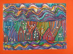 Marker work in the style of Hunderwasser.  Kindergarten Art Lincoln, Nebraska