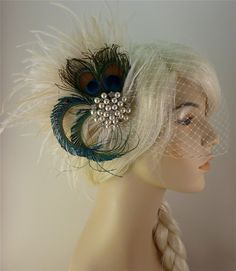 Rhinestone Pearl Bridal Feather Fascinator, Bridal Headpiece, Wedding Veil, Holly's Old Hollywood, Ivory, Champagne and Natural Peacock. $98.00, via Etsy.