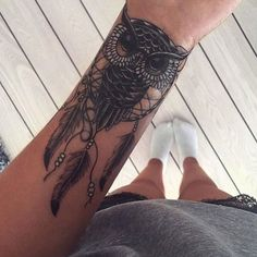 Owl with Dream Catcher on Arm Tattoo