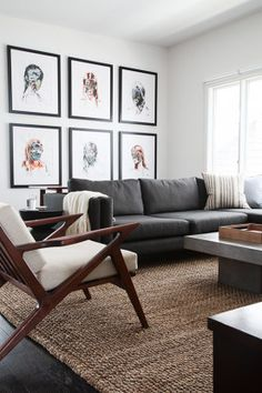 Homepolish Interior Design | The Easiest Gallery Wall: Here, a grid of six images from the same artist matches the client's clean, modern aesthetic. Note how this arrangement makes full use of the wall, meeting the lines of the top of the sofa back.