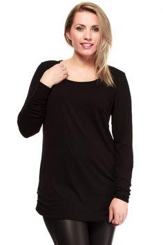Gładka czarna tunika w rozmiarach plus size