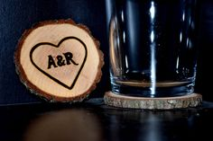 Set of 4 Handcrafted 'Monogrammed Heart' Woodburned Coasters by ZSDesign on Etsy