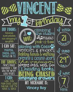 Little Man First Birthday Chalkboard Poster by PersonalizedChalk
