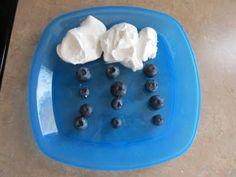 "Letter U preschool ideas - cloud & rain snack  (directions ""UNDER the cloud put 12 blueberries"""