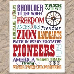 Pioneer Subway Art, Digital / Printable 8.5x11 via Etsy--Thank you Kamri's Designs! All her proceeds go to ADOPTION. Love this!