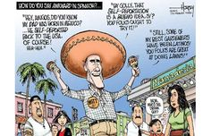 In reference to the presidential race of 2012. Romney needed a significant percentage of the Latino vote, but failed to do so. He was quoted saying weird, strange things as this political cartoon points out.