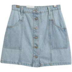 Chicnova Fashion A-line Denim Mini Skirt (835 UYU) ❤ liked on Polyvore featuring skirts, mini skirts, bottoms, blue mini skirt, a line skirt, high-waisted skirts, blue a line skirt and high waisted skirts