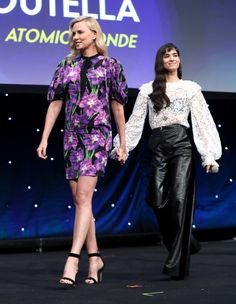 Charlize Theron and Sofia Boutella at an event for Atomic Blonde