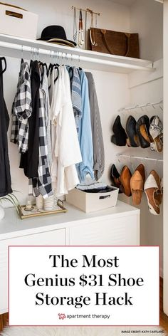 This genius $31 shoe storage hack takes advantage of an unused spot in your closet. #storagetips #storage #shoestorage #storageideas #closethacks #closetideas