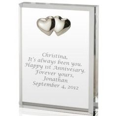 Personalized Silver Heart Acrylic Romantic Heart Plaque
