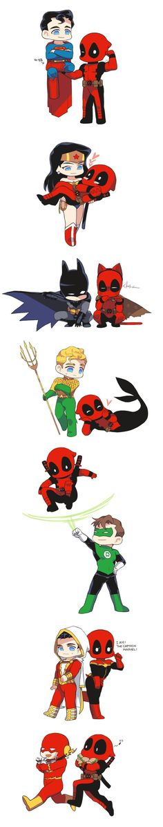 you cute little bastard ♥ Deadpool….you cute little bastard ♥ Heros Comics, Marvel Dc Comics, Funny Comics, Marvel Avengers, Deadpool Y Spiderman, Batman, Deadpool Funny, Deadpool Stuff, Chibi
