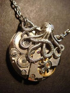 Steampunk Octopus Necklace on Vintage Brass by CreepyCreationz