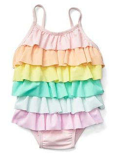 Pastel rainbow ruffle swim one-piece | Gap.
