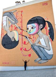 street art mural urban graffiti art by Seth GlobePainter...Paris