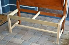 DIY Headboard Bench - My Happy Simple LivingDIY Headboard Bench DIY headboard bench tutorial. Find out how to make a headboard bench. Check out this easy tutorial for a DIY headboard bench. Old Headboard, Headboard Benches, Diy Headboards, Refurbished Headboard, Storage Headboard, Bed Bench, Bench Seat, Do It Yourself Couch, Furniture Makeover