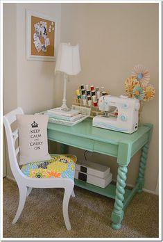If I had a cute and permanent place like this, I'm certain I would sew more! Maybe in the guest room or future basement? Small Sewing Space, Sewing Spaces, Small Spaces, Painted Furniture, Diy Furniture, Modern Furniture, Furniture Design, Craft Room Decor, Home Decor