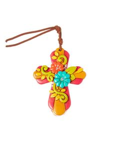 This Pink & Turquoise Floral Cross Pendant by Oori Trading is perfect! #zulilyfinds
