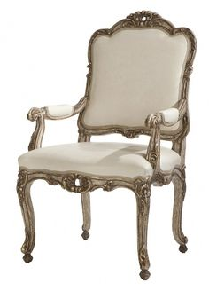"Simone Arm Chair...Dining No: 502-204-205  24-1/2""W x 27""D x 43-1/2""H  Hand-carved arm chair with intricately carved frame in a Borghese and pai..."