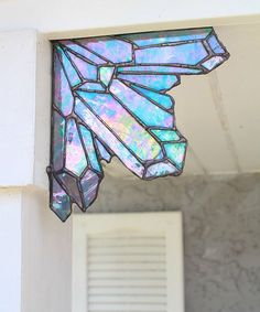 Aura Mermaid Crystal Cluster stained glass corn piece stained #StainedGlassMermaid