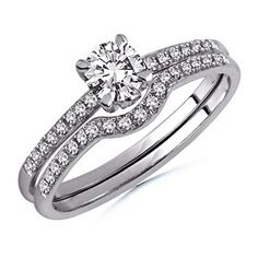 Angara Solitaire Diamond Wedding Ring Set with Plain Band in Yellow Gold HWdq65