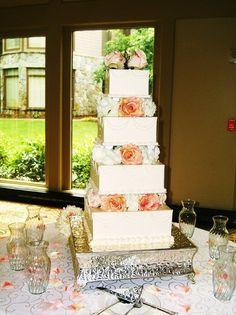 Elegant Blush Ivory Flowers Square Wedding Cakes Photos & Pictures - WeddingWire.com