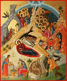 Religious icon of Nativity.It is a hand painted copy from Byzantine Museum of Athens Byzantine Icons, Byzantine Art, Triptych Art, Jesus Art, Infancy, Blessed Virgin Mary, Religious Icons, Orthodox Icons, Sacred Art