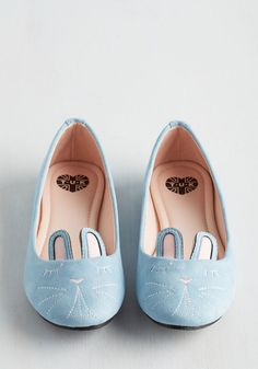 Furry Up, We're Dreaming Flat in Sky. Slip into these bunny flats from T.U.K. #blue #modcloth