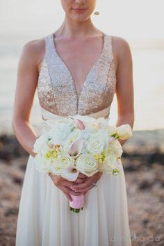 Details | Our Andrea dress Photography by @dmitriandsandraphotography #maui #beachwedding #destinationwedding #bride #bridal #beachweddingdress #sequins #ellebaybridal