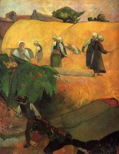Paul Gauguin, Breton Women (1889)  on ArtStack #paul-gauguin #art                                                                                                                                                                                 More