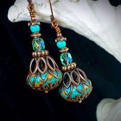 """Your Wish is My Command"" Aqua Blue Turquoise Copper Filigree Jeannie Bottle Victorian Earrings #handmadejewelry"