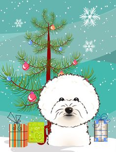 Christmas Tree and Bichon Frise 2-Sided Garden Flag