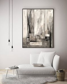 Acrylic Canvas Painting, Abstract Original Large Wallart, Urban City Painting, Black White Gray Painting, Acrylic Art Painting On Canvas Interior Color Schemes, Interior Paint Colors, Interior Painting, Interior Ideas, Contemporary Bedroom Decor, City Painting, Painting Doors, Painting Tips, Painting Techniques