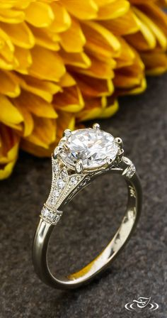 Architecture inspired details are filled with #Diamond melee and accented with milgrain. Any inspiration can be included in your custom #Ring too! #GreenLakeJewelry #EngagementRing #Wedding
