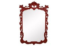 Red Baroque-Style Mirror