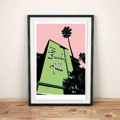 Los Angeles, Beverly Hills Hotel, Architectural Print, Art print, Poster, Digital, Illustration,Wall Decor