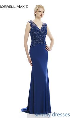 Floor Length V-Neck Formal Gown 14922 at SimplyDresses.com