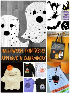 20+  Halloween Applique and Embroidery Printables