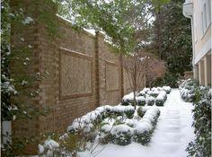 Gardens to Love by Marcia Weber Winter Plants, Winter Garden, Privacy Walls, Privacy Screens, Brick Fence, Little Gardens, Winter Images, Winter Landscape, Garden Inspiration