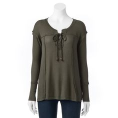 Women's French Laundry Textured Lace-Up Tunic, Size: Medium, Green Oth