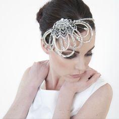 Crystal embellished deco fan bridal headdress