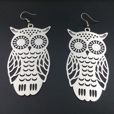 Jewelry Dangle Earrings Silver Plated Big Owl Charm Earring Teenage Gift Under 5 #SilverPlated #Earrings