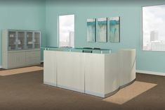 This stunning Sea Salt reception area comes with a thick glass transaction top - optional side and storage.  Matching wall storage with glass doors.  Other colors available.  Contact margie@inspireyourspace.ca for more information. Salon Reception Desk, Modern Reception Desk, White Office Furniture, White Leather Chair, Cool Office, Office Ideas, Desk Layout, Office Makeover, Wall Storage