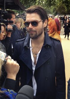 British musician Simon Neil from Biffy Clyro arrives at the Burberry S/S14 show space in Kensington Gardens - shot with #iPhone5s