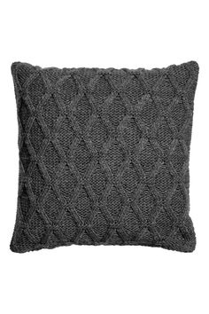 Cable-knit cushion cover - Dark grey - Home All | H&M