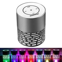 Rubility Bluetooth Speakers, Bluetooth 4.1 Mini Wireless Speaker Stereo With Hollow Crack Colorful LED Light Portable Speaker Compatibility for Smartphone Grey. Hollow metal shell,gradually changing colorful lights,can be used as small night light by your bed, cool and mini;. Touchable button,one key for a variety of functions shift;. Support hands-free calls, up and down song, pause;. Support TF card;. The bottom with anti-skid pads.