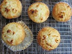 Pineapple Coconut Muffins (used 1/3c honey + 1/3c brown sugar instead of 1c white sugar, used 1/2c chopped fresh pineapple + 1 mashed banana, used homemade coconut milk, used homemade dried unsweetened coconut, reduced butter to 6T)
