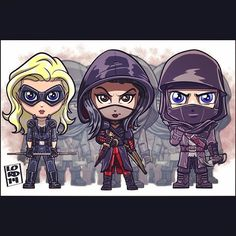 The league of assassins by lord mesa Arrow Cw, Team Arrow, Supergirl Dc, Supergirl And Flash, Lord Mesa Art, Chibi, League Of Assassins, Superhero Shows, Dc Legends Of Tomorrow