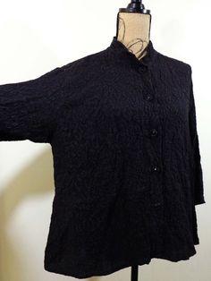 ART TO WEAR Uru blouse lagenlook top black textured silk imperial sz L #Uru #Blouse #EveningOccasion