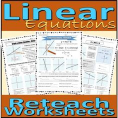 Linear Equations - RETEACH Worksheets by Rethink Math Teacher | TpT
